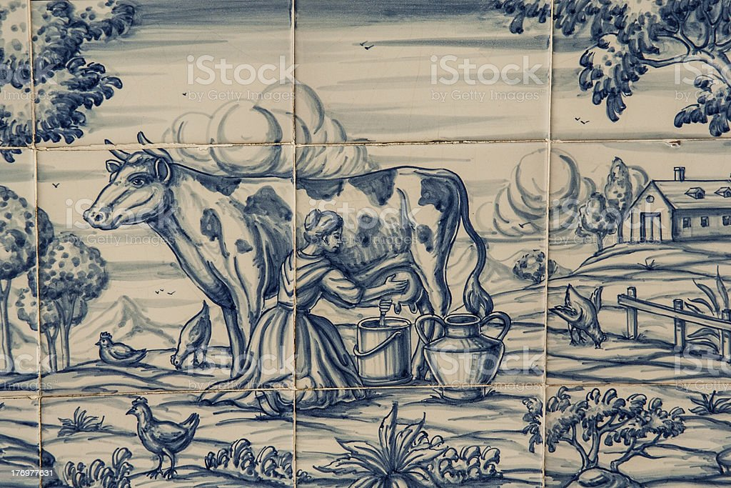 Tile, Talavera, painting, work in the fields stock photo