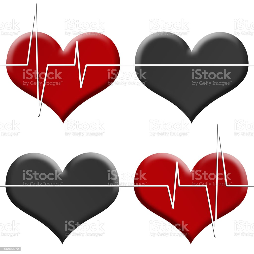 Tileable seamless illustrated background heart beat monitor isolated on white. stock photo