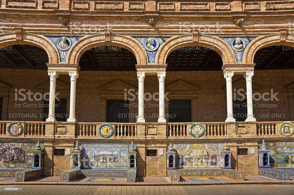Tiled Alcoves of Plaza de Espana in Seville, Spain royalty-free stock photo