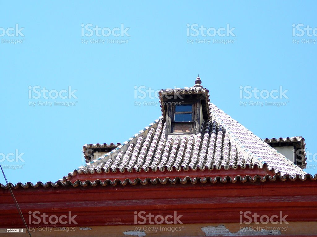 Tiled attic roof stock photo