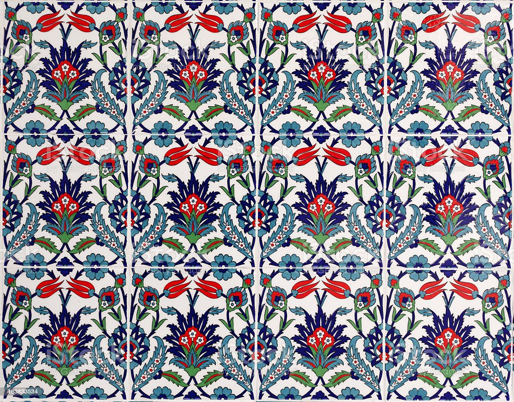 Tiled background ancient mosaics  from Turkish Mosque royalty-free stock photo