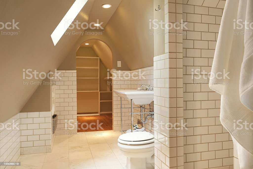 Tiled Bathroom and Closet royalty-free stock photo