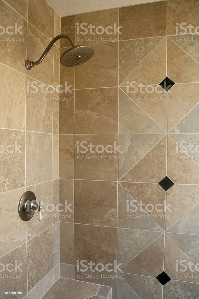 Tiled Bathroom Shower royalty-free stock photo