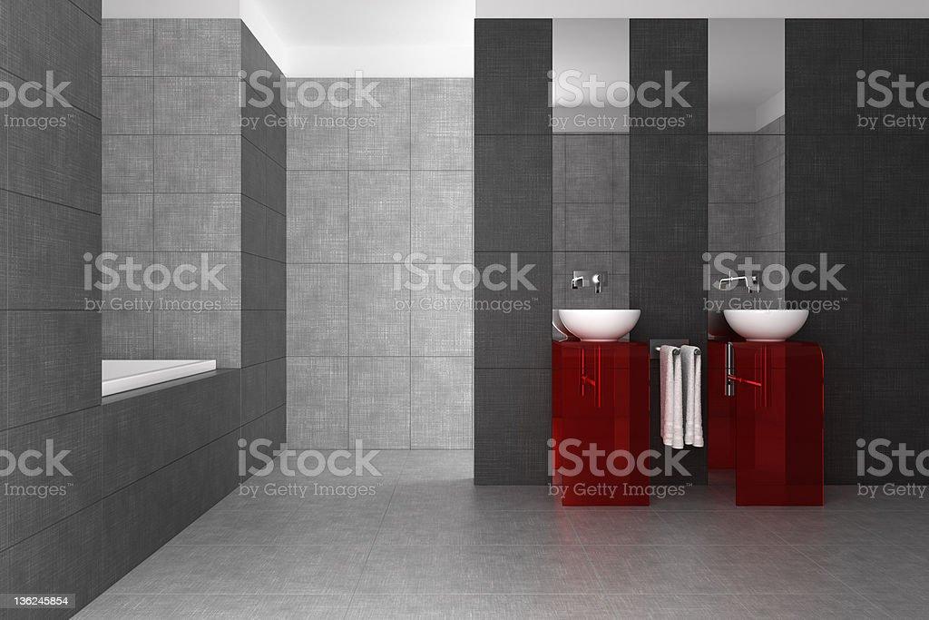 Geflieste Badezimmer Mit Doppelwaschbecken Und Badewanne Stockfoto ... Geflieste Badezimmer