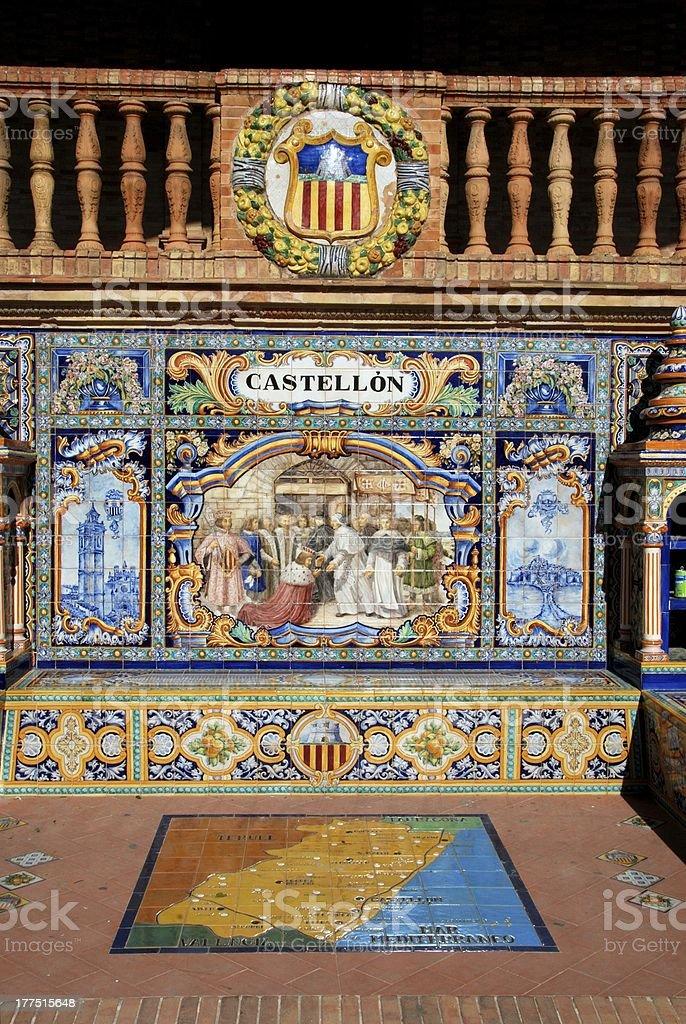 Tiled bench, Plaza de Espana, Seville, Spain. royalty-free stock photo