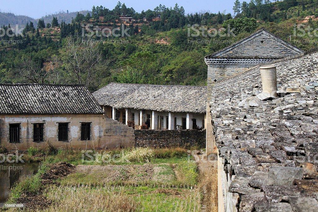 Piastrelle tetti in cinese Longnan, Cina foto stock royalty-free