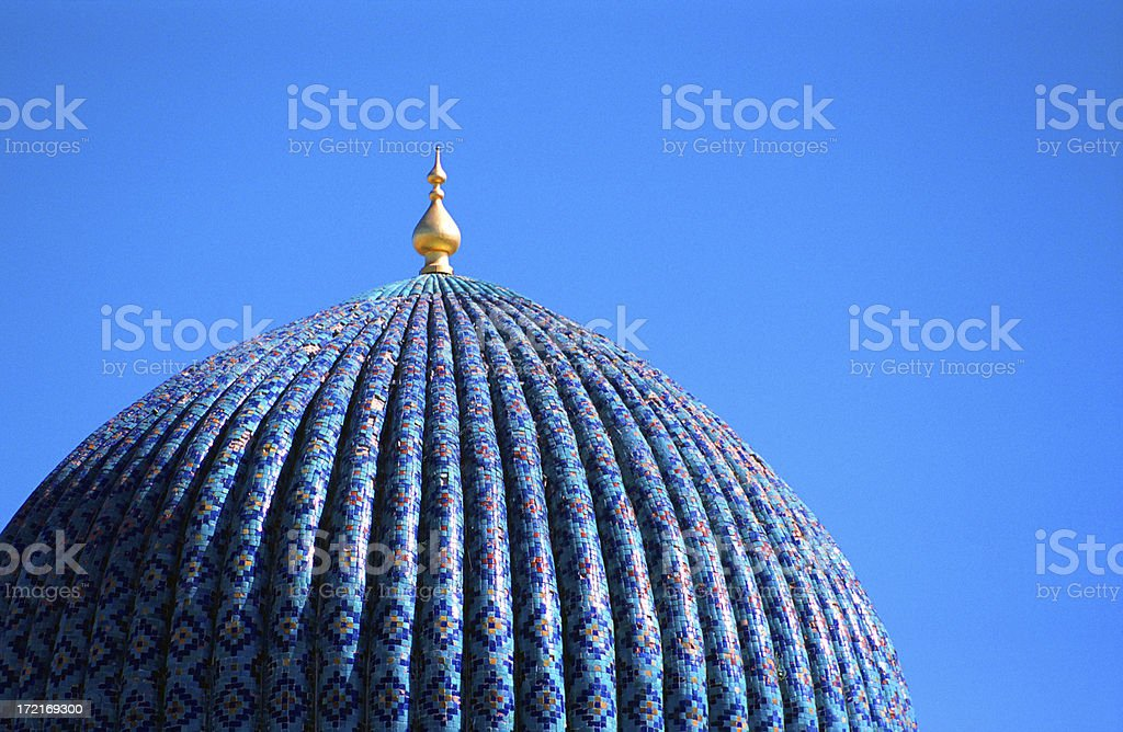 Tiled dome of a mosque in Samarkand, Uzbekistan stock photo