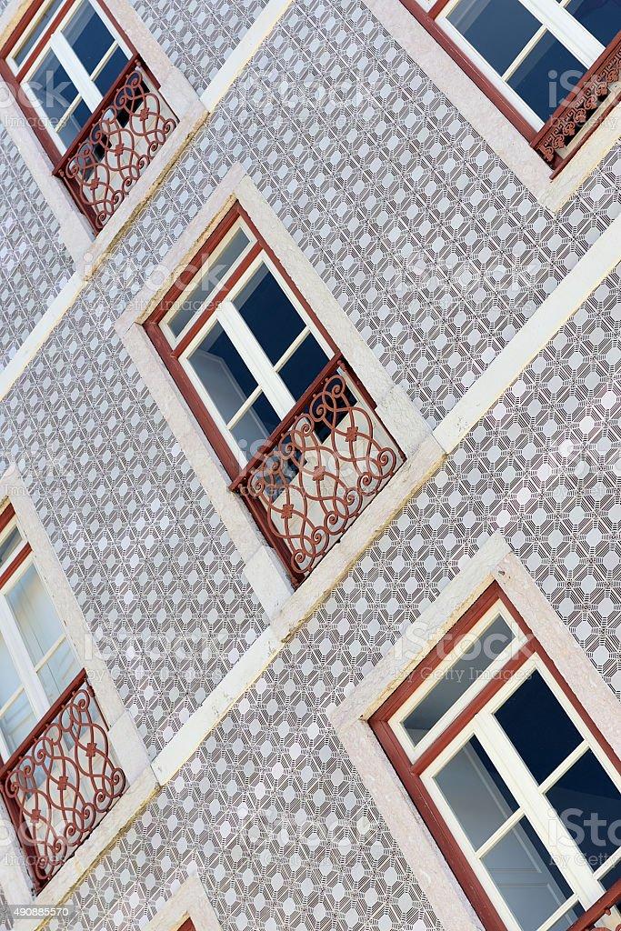 Tiled facade in Lisbon stock photo
