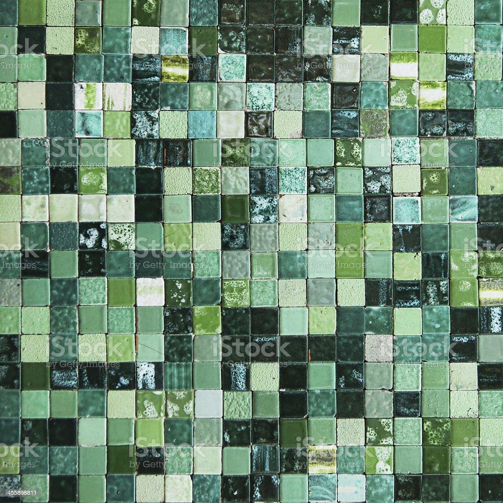 Tiled Italian wall in green shades royalty-free stock photo