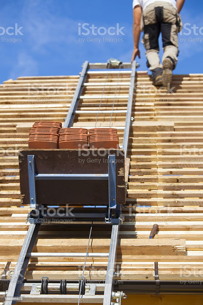 Tiled roof under construction royalty-free stock photo