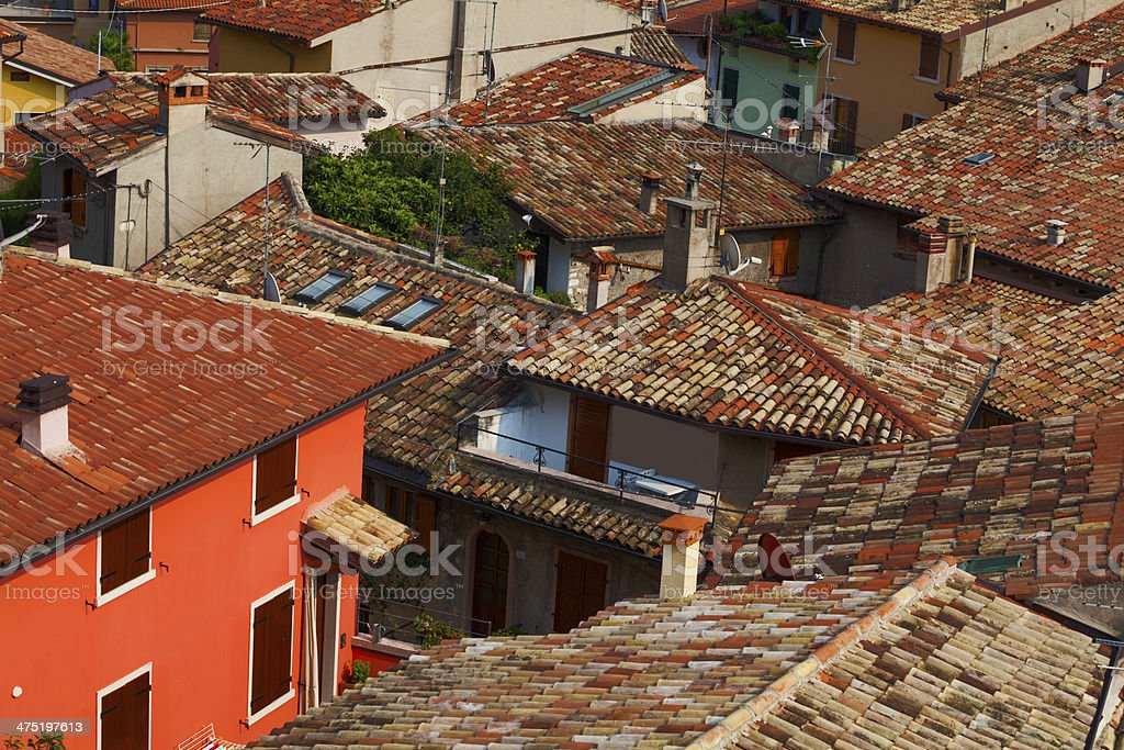 Tiled roofs of Malcesine royalty-free stock photo