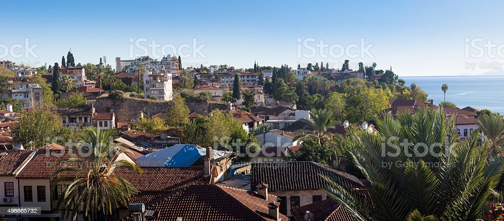 Tiled roofs of the old town stock photo