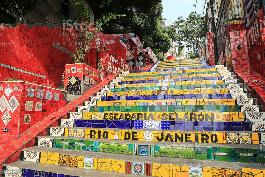 Tiled Steps at lapa in Rio de Janeiro Brazil stock photo