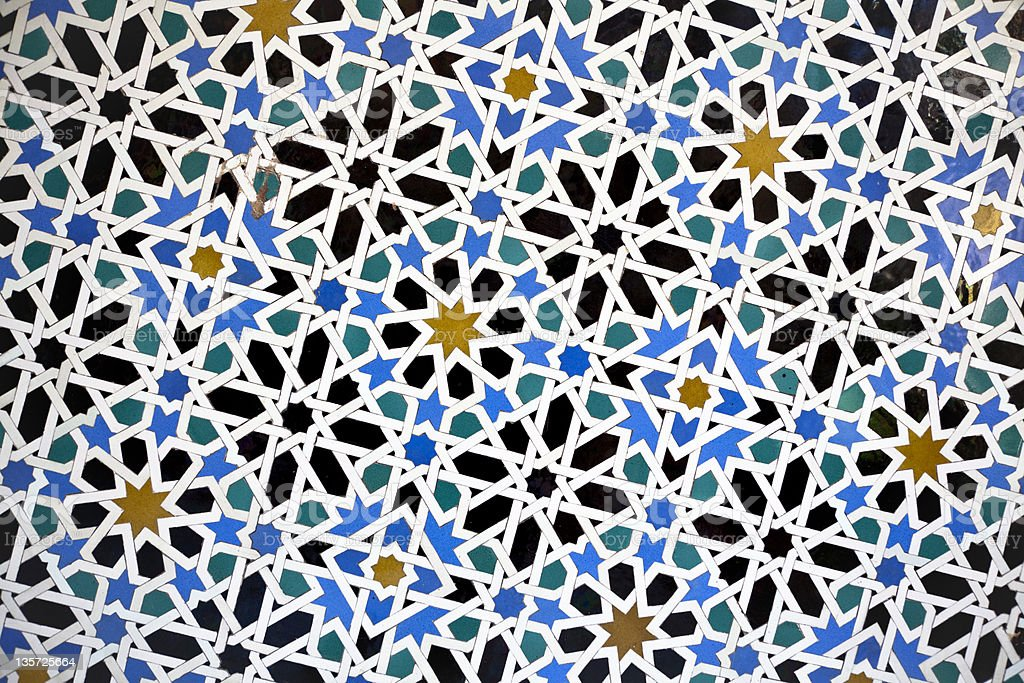 Tiled wall. Mosaics. Moorish Tiles royalty-free stock photo