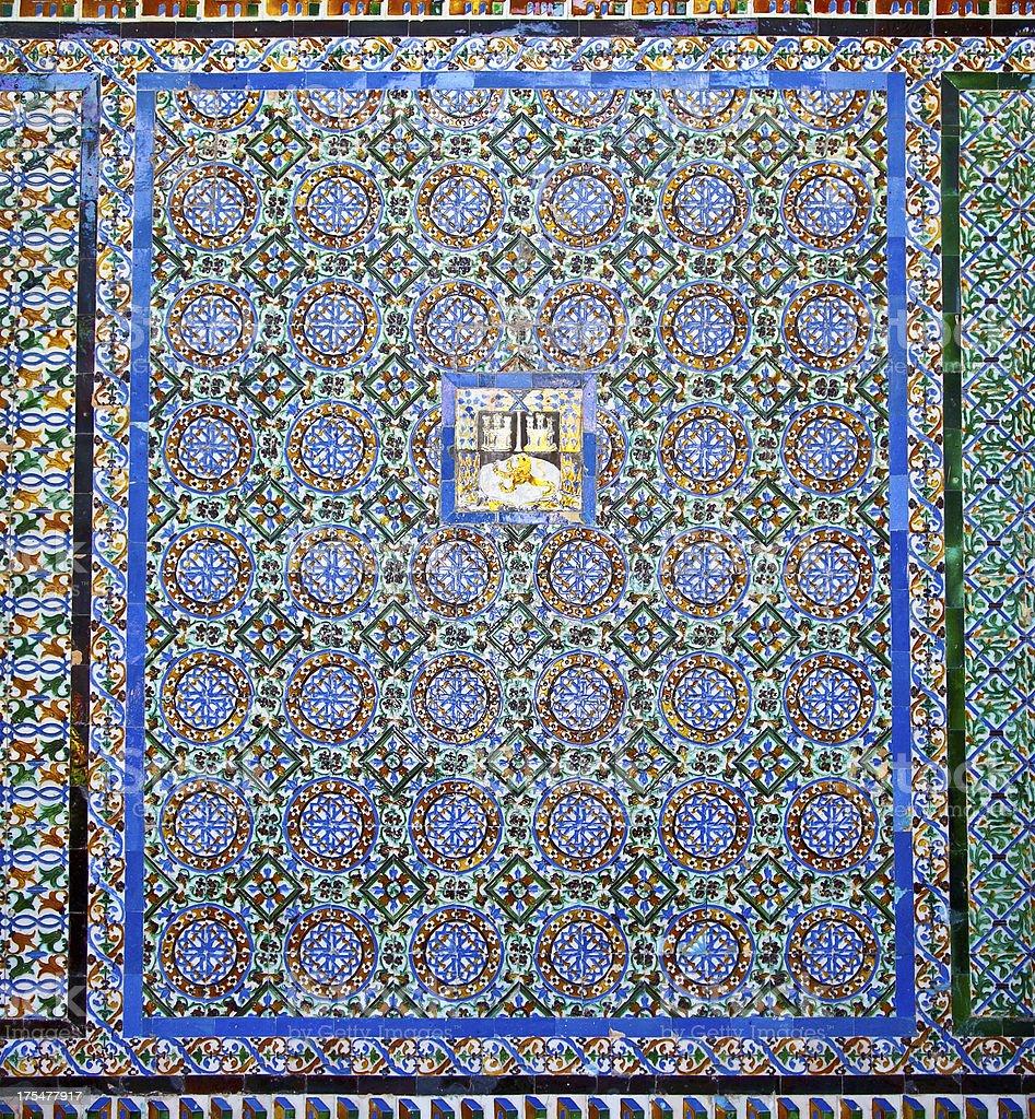 Tiled wall of Patio Principal ,Spain royalty-free stock photo