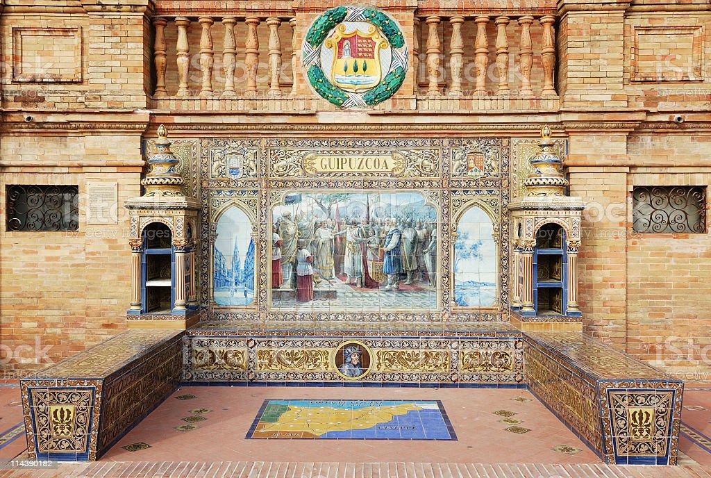 Tiled wall of the Plaza de España stock photo