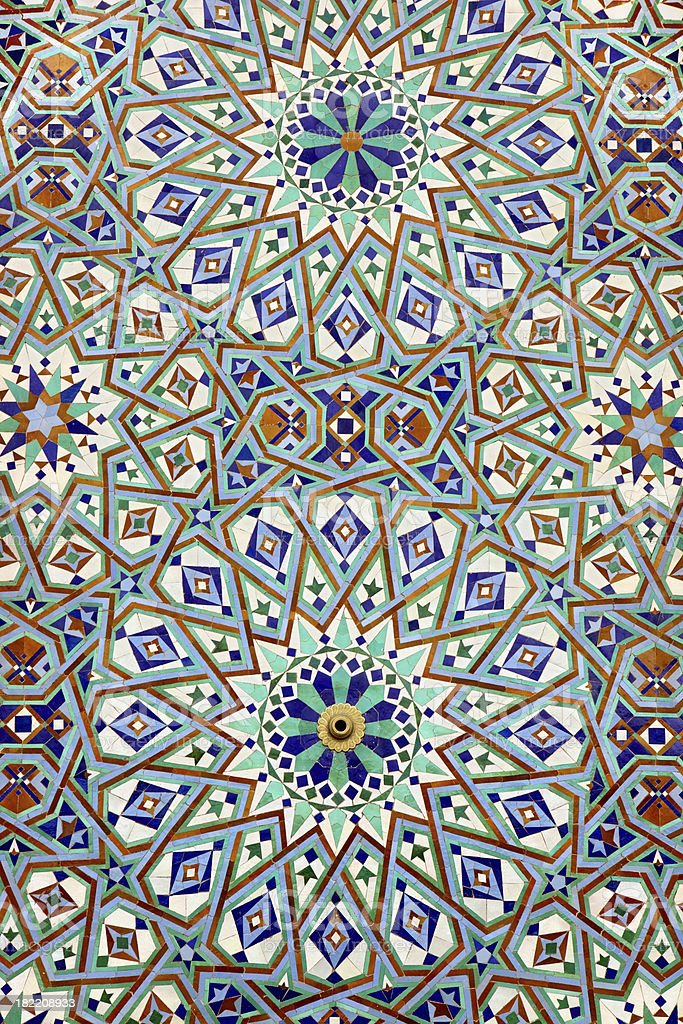 Tiles of a Fountain in Hassan II Mosque stock photo