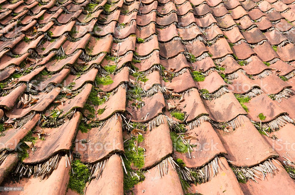 Tiles on a house in the Open Air Museum in Ootmarsum. stock photo