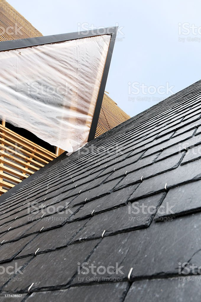 tiles slate roof and underneathing wooden frame stock photo