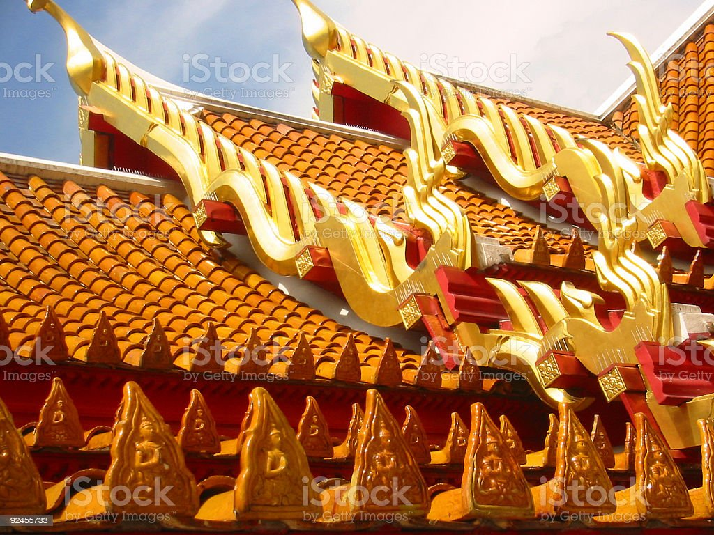 tiles temple roof bangkok thailand royalty-free stock photo