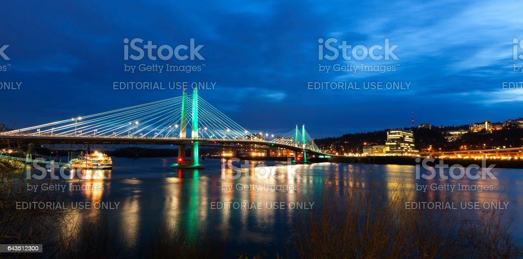 Tilikum Crossing Bridge at Dusk stock photo