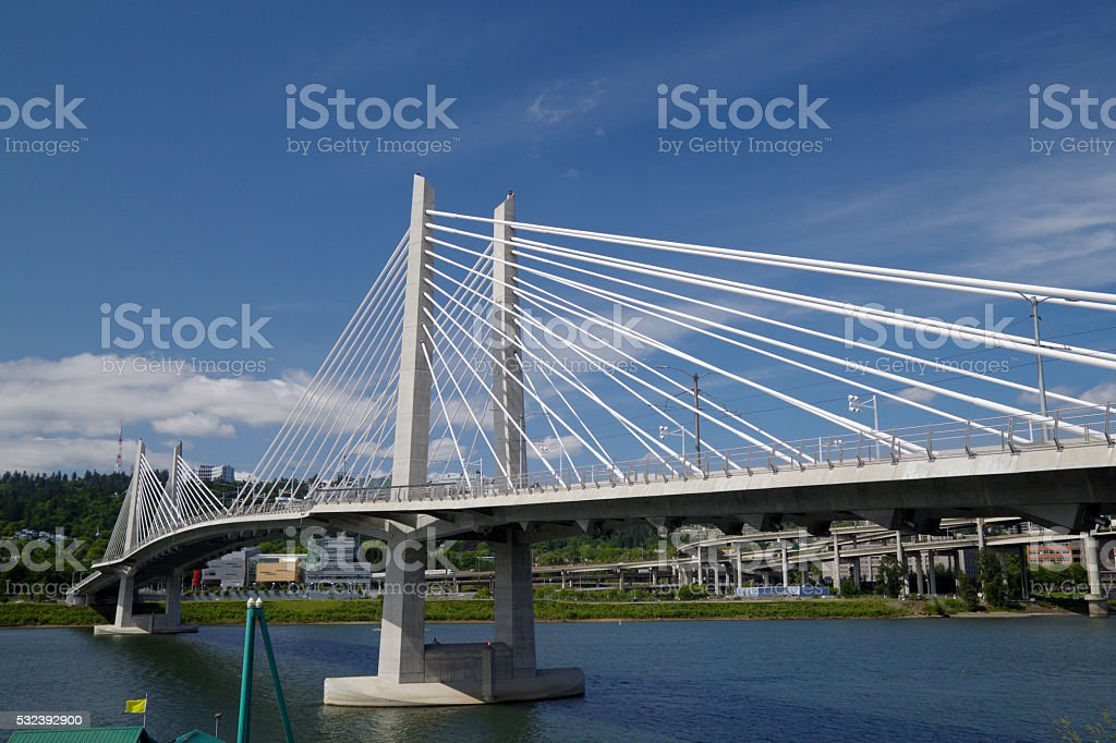 Tilikum crossing - portland bridge over the Willamette River stock photo