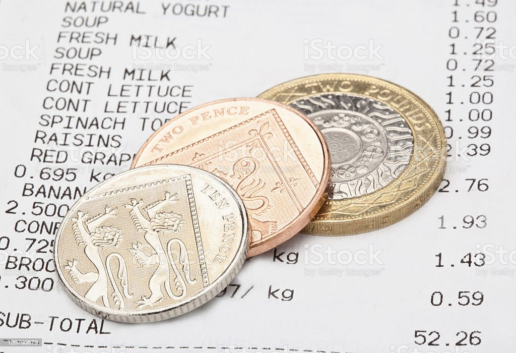 Till receipt with coins royalty-free stock photo