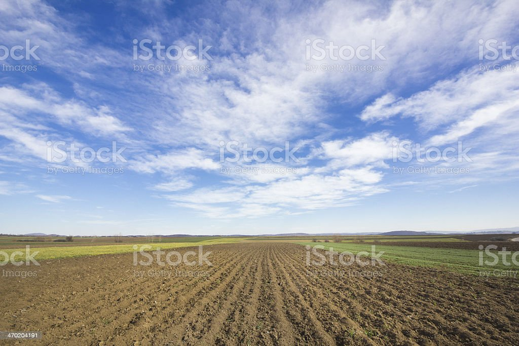 tillage field under the clouds stock photo