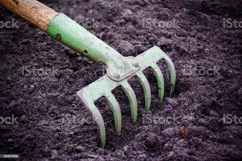 Tillage rake for planting crops. stock photo