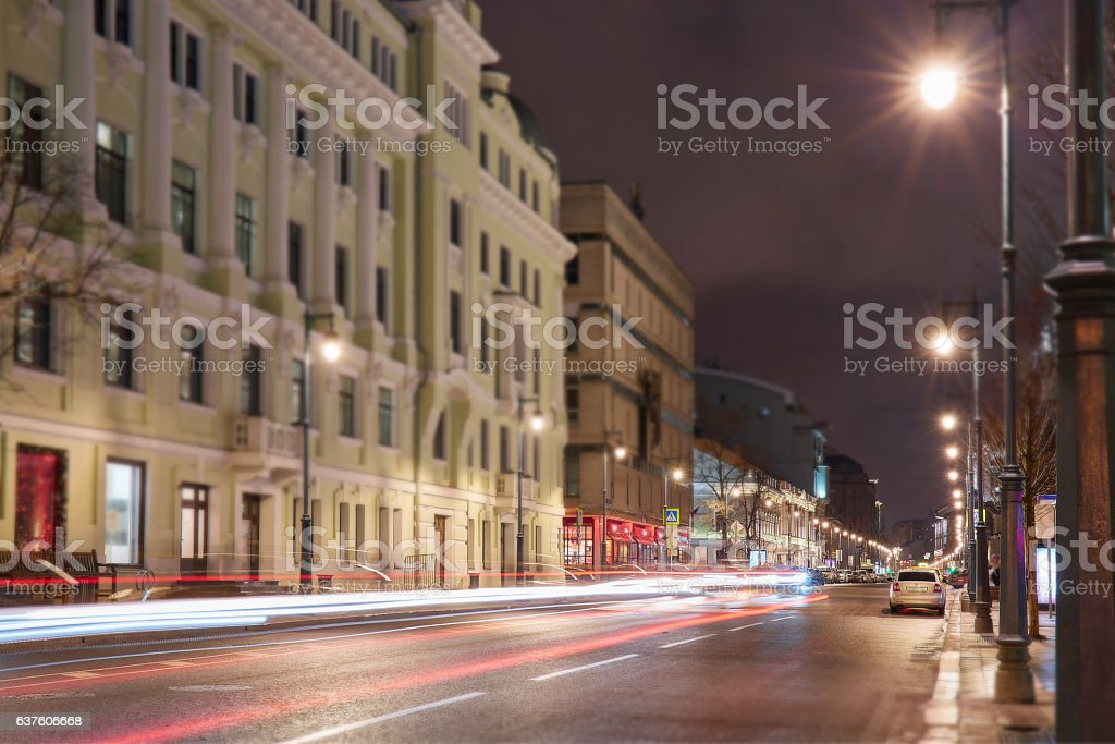 Tilt and shift view of Moscow car tracers stock photo