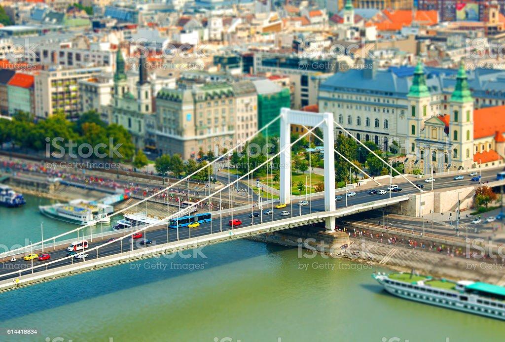 Tilt Shift Effect a view of Danube with Elizabeth Bridge stock photo