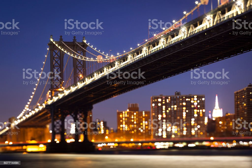 Tilt Shift Manhattan Bridge view stock photo