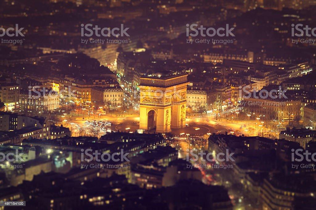 Tilt Shift of the Arc de Triomphe stock photo