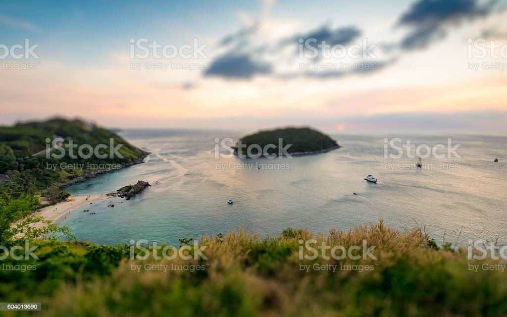 Tilt shift of tropical ocean landscape with a little island stock photo
