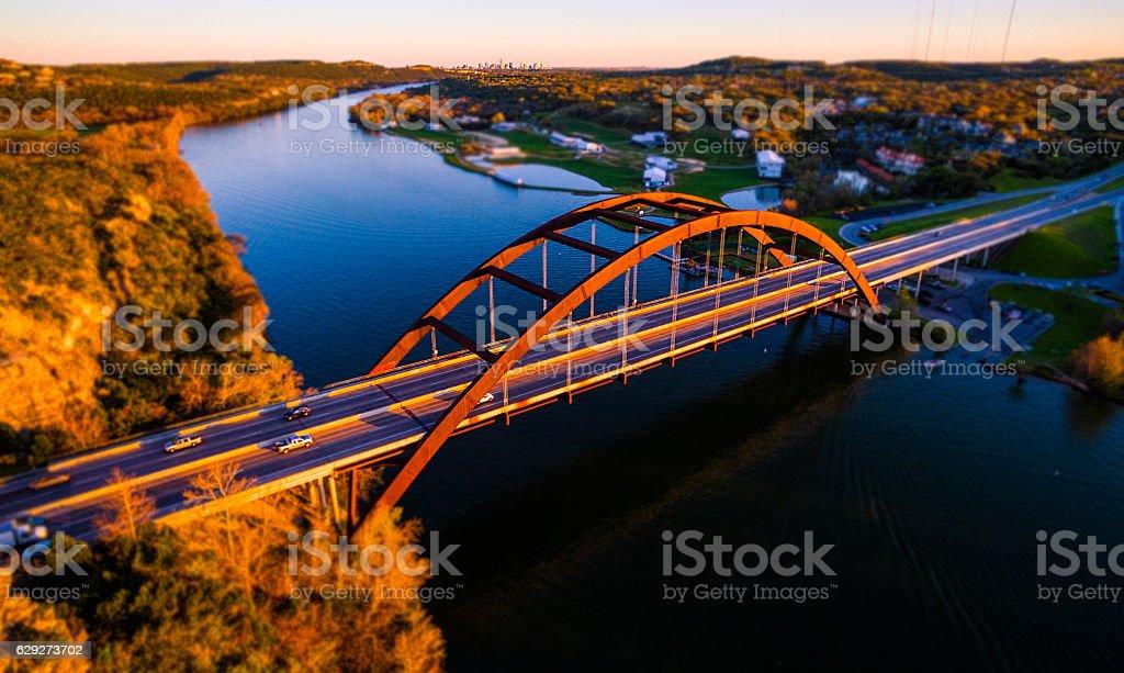 Tilt Shift Pennybacker Bridge Austin Texas Aerial stock photo