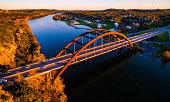 Tilt Shift Pennybacker Bridge Austin Texas Aerial