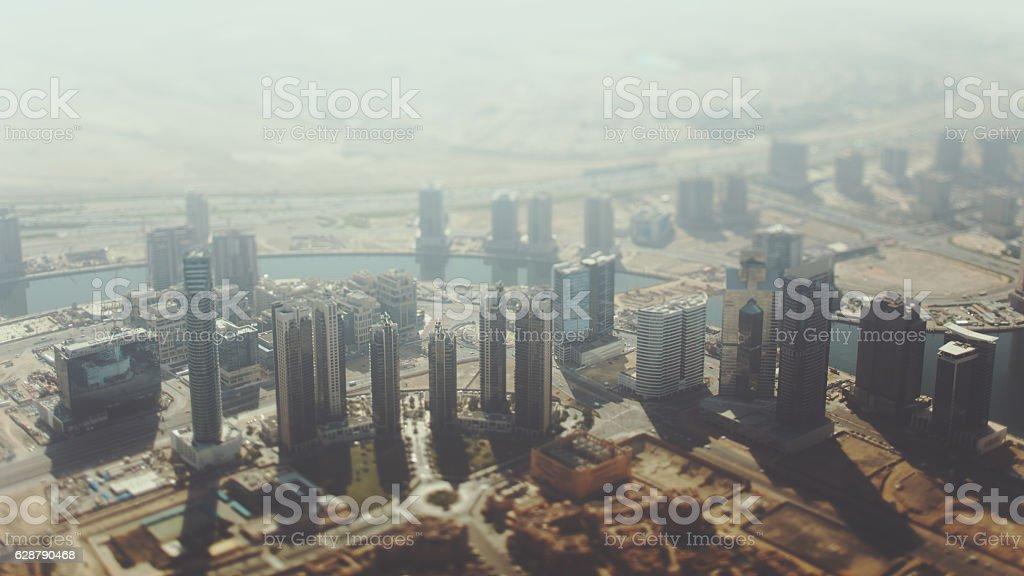 Tilt shift shooting of Dubai skyscrapers stock photo