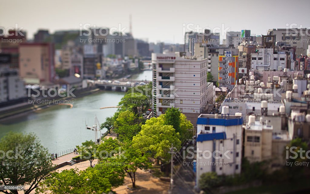 Tilt Shift Shot of Fukuoka stock photo