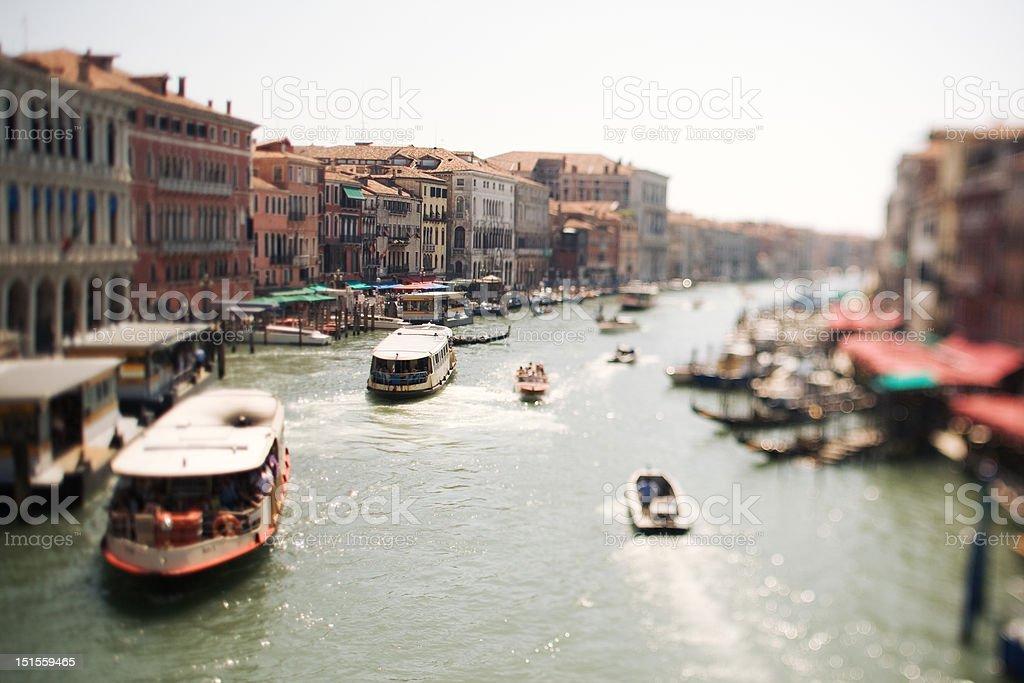 Tilt Shift Venice Grand Canal stock photo