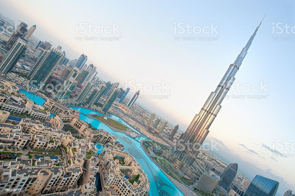 Tilted aerial shot of Dubai city skyline with Tower of Dubai stock photo