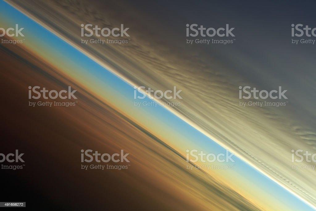 Tilted Horizon Sunset stock photo