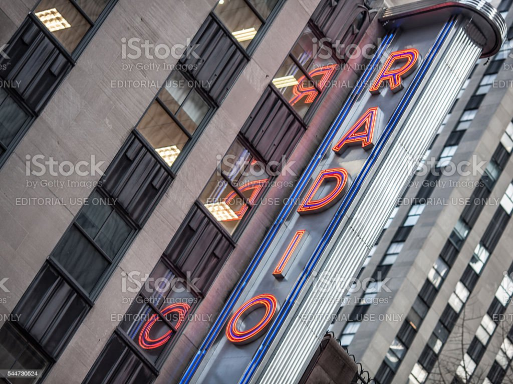 Tilted view of Radio City Music Hall in New York stock photo