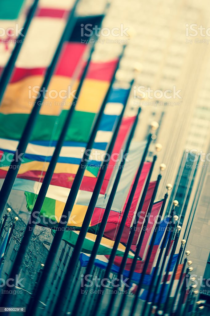 Tilt-shift lens toned image of international flags in NYC stock photo