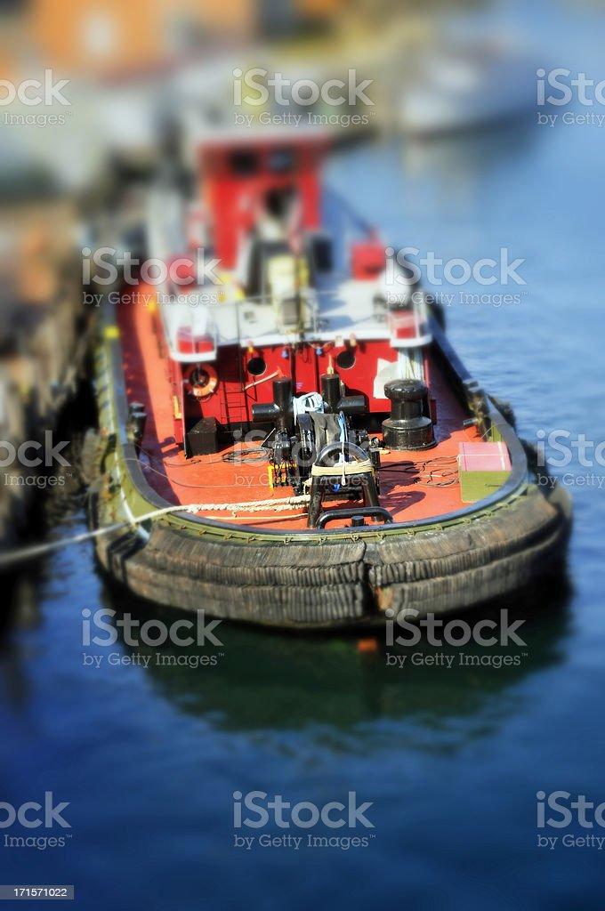 Tiltshift Tugboat Deck royalty-free stock photo