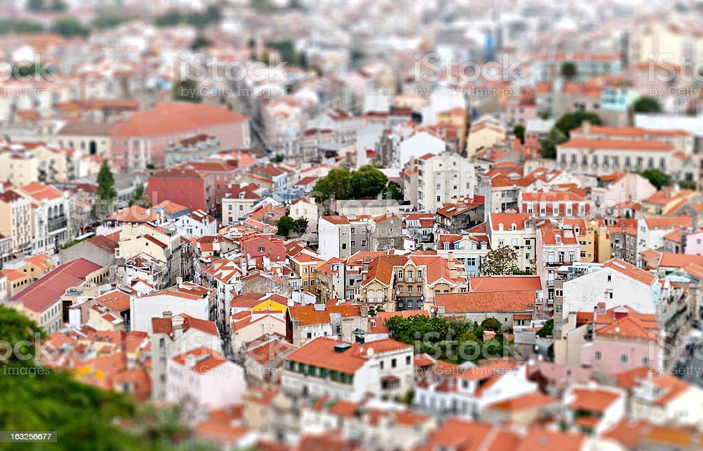 Tilt-shift view of Lisbon. Portugal royalty-free stock photo