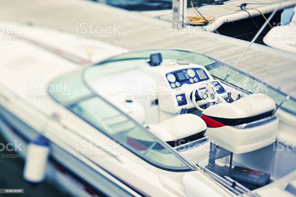 Tiltshifted motor boat royalty-free stock photo