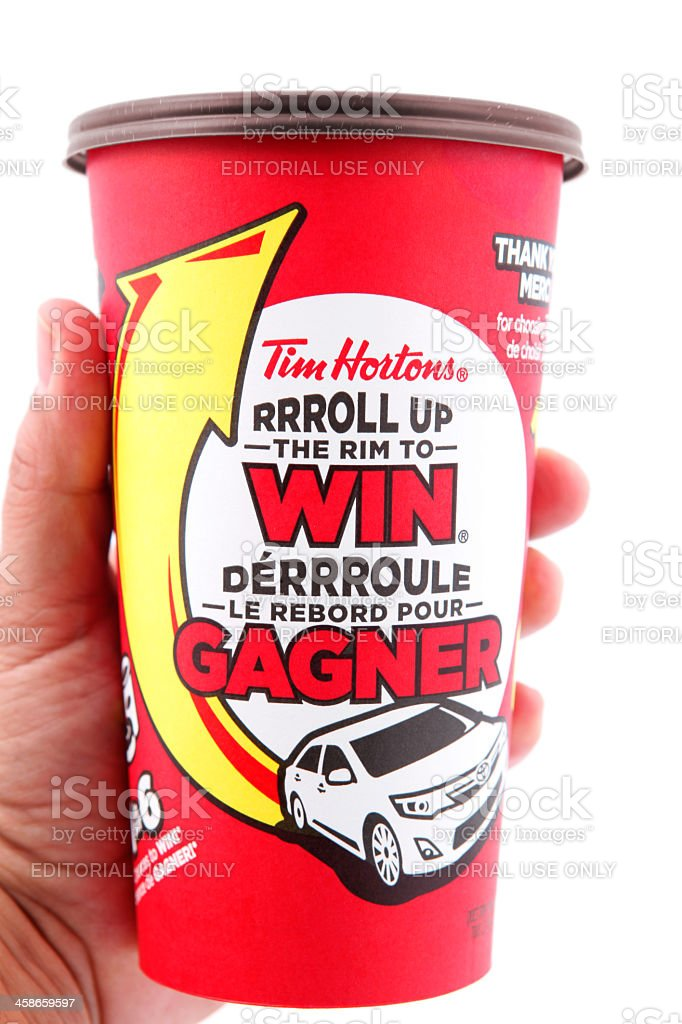 Tim Hortons Coffee Cup in hand stock photo