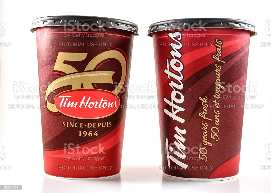 Tim Hortons cups depicting celebrations of fifty years of existence stock photo