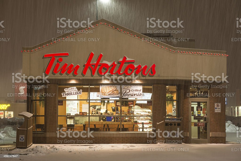 Tim Horton's in Snowstorm stock photo