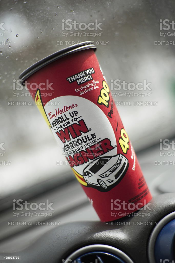 Tim Hortons Xlarge coffee cup with Roll Up the Rim royalty-free stock photo